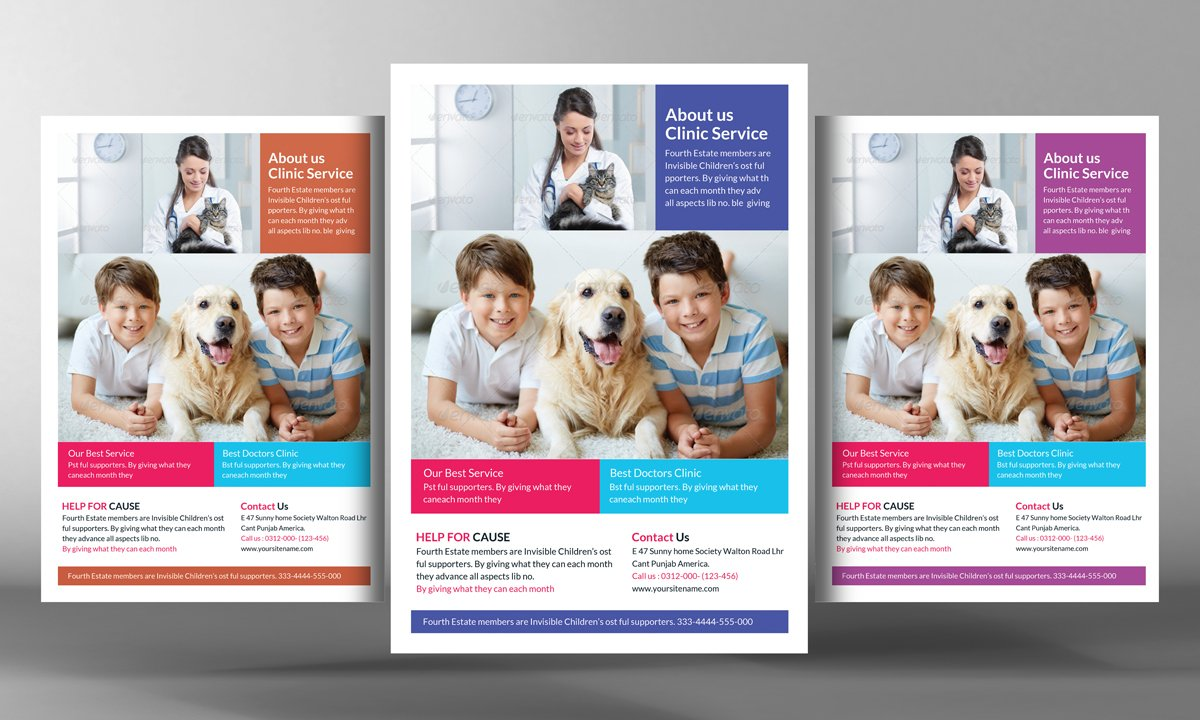 pets clinic flyer template flyer templates creative market