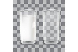 Realistic transparent glasses of milk