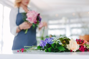 Fresh flower on counter with florist