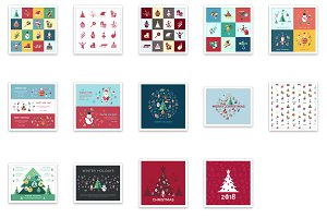 Vector bundle 16 new year icons