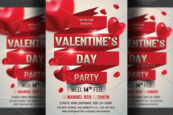 Valentines Day Flyer Invitation Flyer Templates Creative Market