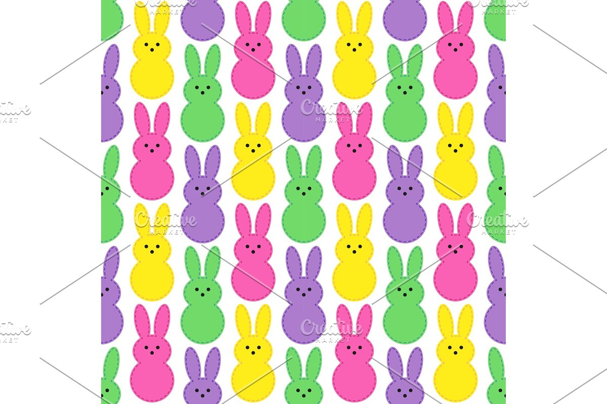 Cute Easter seamless pattern design with funny cartoon characters of bunnies in Objects