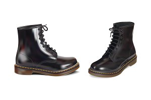 glossy patent leather boots