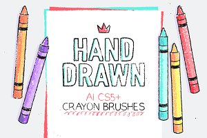AI hand drawn crayon brushes