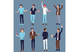 Set of Men Icons Partying Vector Illustration
