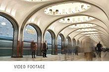 Metro station. Time lapse.