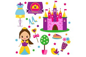 Cute princess world icons, stickers