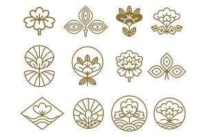 Japanese Icons Flowers Set Vector Illustration