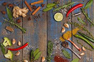 Selection of spices herbs and greens