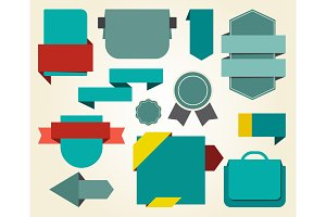 Collection of Blue Stickers on Vector Illustration