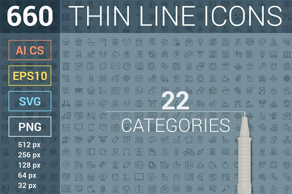 660 thin line icons pack