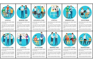 Strategy and Working Task Set Vector Illustration