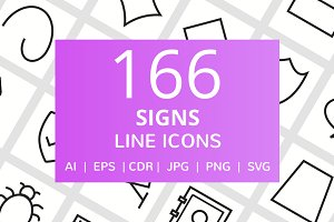 166 Signs Line Icons