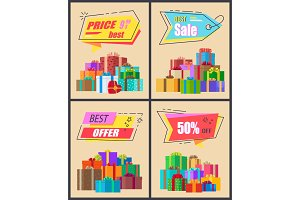 Best Price Sale and Offer Vector Illustration