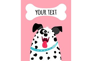 Greeting card with dalmatian dog face