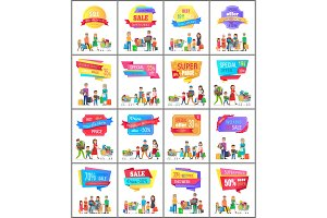 Set of Promo Label on Posters with People Shopping