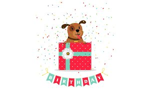 Birthday greeting card with dog