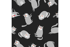 Cats pattern on dark background