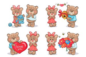 Adorable Teddy Bears Couples Exchange Presents