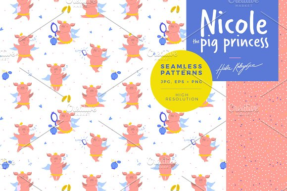 Pattern illustration of a cute pig in Patterns - product preview 3