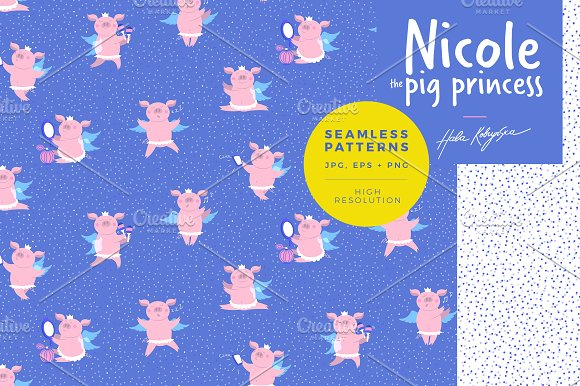 Pattern illustration of a cute pig in Patterns - product preview 1