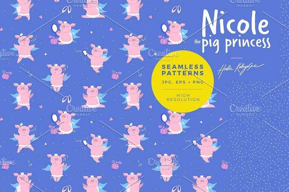 Pattern illustration of a cute pig in Patterns - product preview 2