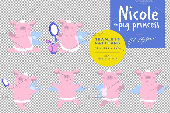 Pattern illustration of a cute pig in Patterns - product preview 4