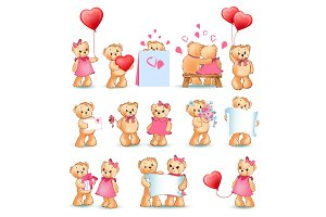 Teddy Bears Set Valentine Vector Illustration
