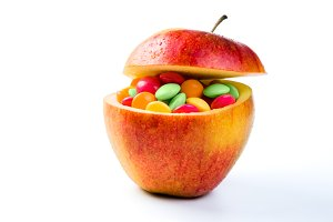 Health care concept - apples are full of vitamins