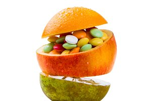 Health care concept - fruits ore full of vitamins
