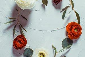 Floral round frame