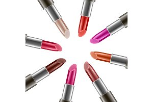 Vector background with realistic lipsticks with different colors
