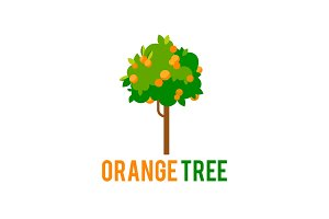 Orange tree with fruits. Vector tree in a flat style.