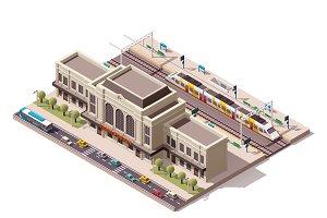 Vector isometric train station