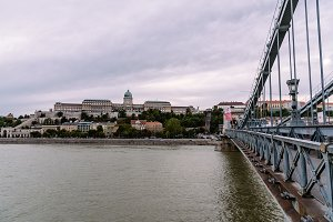 Cityscape of Buda Castle from Chains Bridge in Budapest