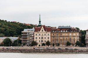 Scenic view of Buda district in Budapest across Danube  river