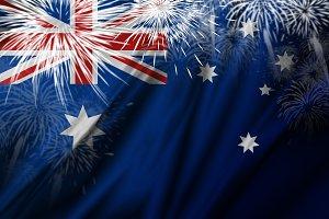 Australia flag with fireworks
