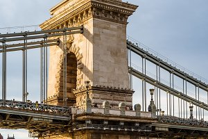 Szechenyi Chain Bridge over Danube River in Budapest
