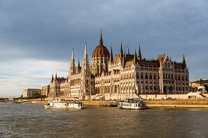 Parliament building in Budapest at sunset