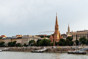 Cityscape of Buda with the Calvinist church in Budapest