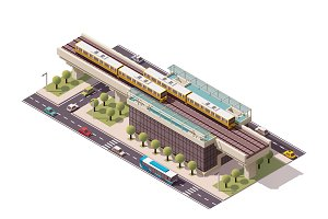 Vector isometric city train station