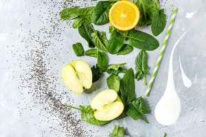 Ingredients of green smoothie