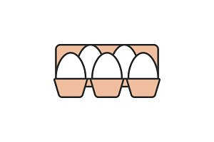 Eggs tray color icon