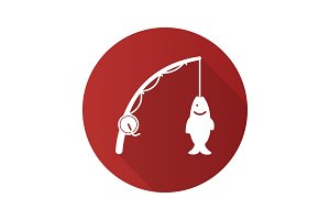 Spinning rod with fish flat design long shadow glyph icon