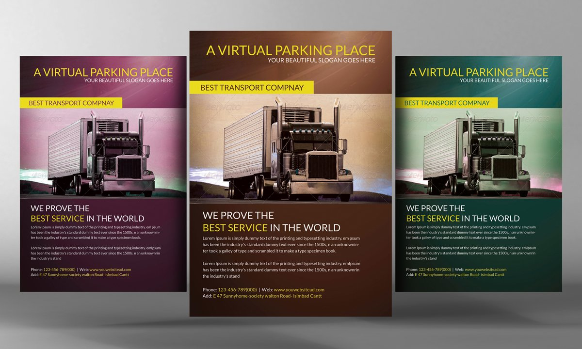Transport business flyer template flyer templates creative market cheaphphosting Choice Image