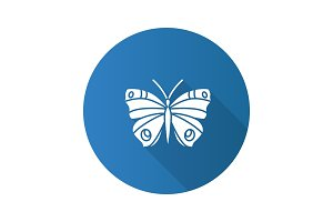 Butterfly flat design long shadow glyph icon