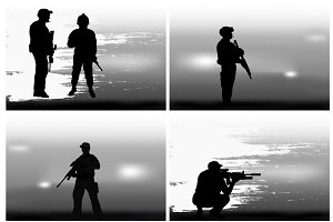 Set of images on a military theme.