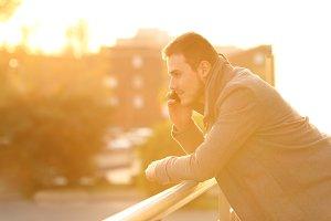 serious man talking on phone
