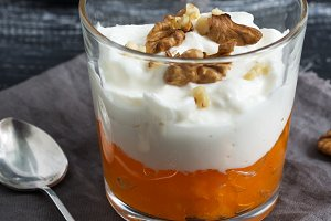 Yogurt with orange fruit jam