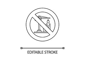 Forbidden sign with tower crane linear icon